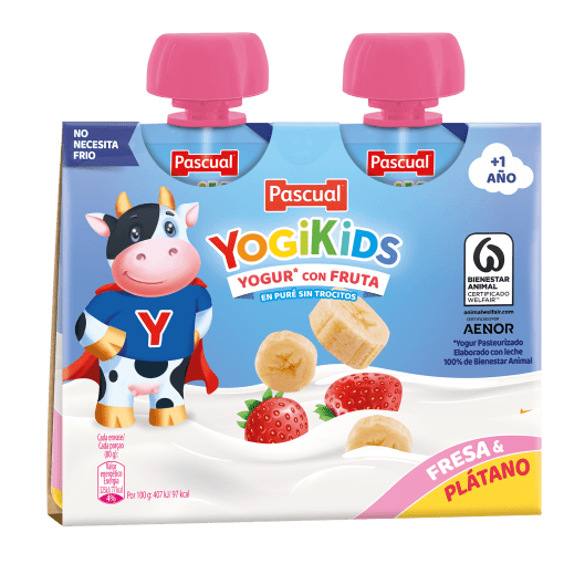 yogikids fresa platano pascual