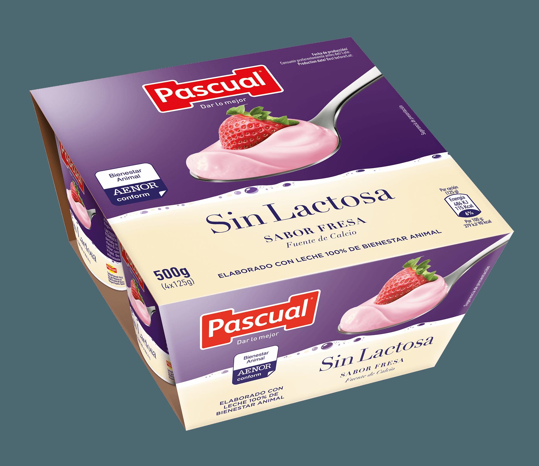 Yogur de fresa sin lactosa Pascual
