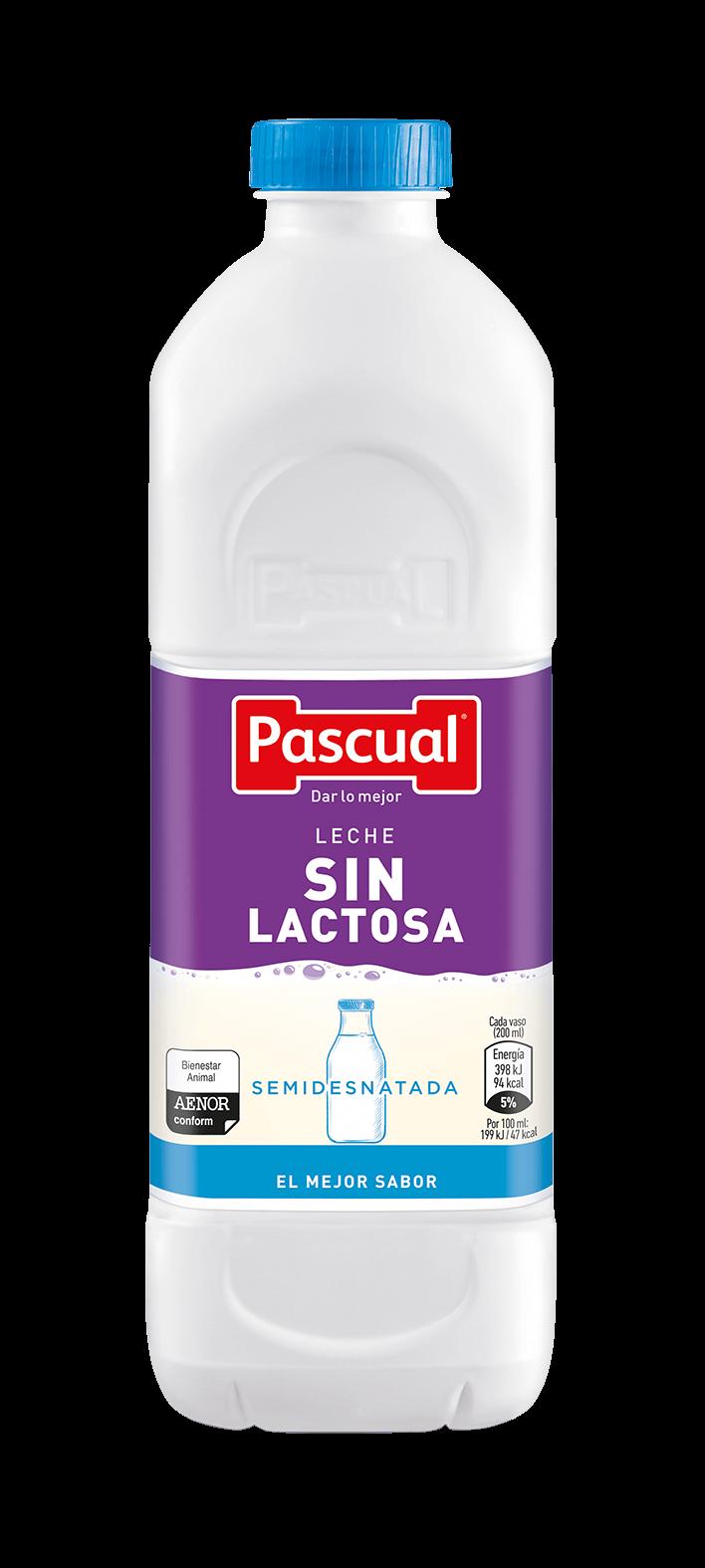 Botella leche sin lactosa semidesnatada - Leche Pascual de Bienestar Animal